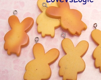 2 Bunny Baked Biscuit Lucite Charms