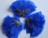BLUE BETTY -- Royal Cobalt Blue Feather Fascinator Hairpiece Headpiece Speckled Guinea Herl Jewel Rhinestone Bride Bridal Bridesmaid Prom