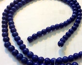 FULL Strand, 8mm Round Beads, Turquoise Howlite, Royal Navy Blue