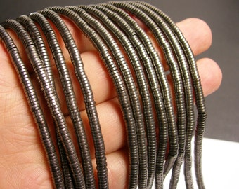 Hematite grey - 4x1mm heishi beads - full strand - 400 beads - A quality - PHG87