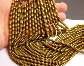 Hematite gold - 4mm rondelle beads - full strand - 185 beads - A quality - matte -  PHG125