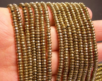 Hematite gold - 2x4mm faceted rondelle beads - full strand 184 beads - A quality - ligth gold - PHG137