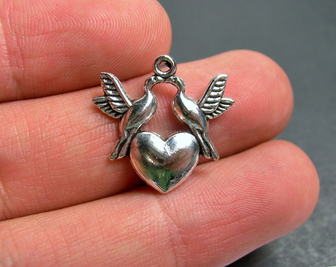 12 birds and heart  charms - Silver tone dove charms - 12 pcs  - ASA165