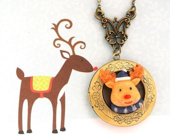 Reindeer Locket Necklace, Christmas Pendant Necklace, Antique Bronze Christmas Deer Locket Necklace