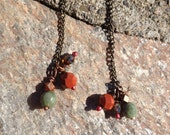 EARRINGS, GREEN OPAL, Moonstone, Fire Polish and Copper, 2 inch. Dangle