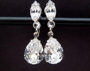 Bridal Earrings Swarovski Teardrop Crystal Earrings Chandelier Earrings clip on crystal Earrings Wedding Statement Bridal Earrings FRANCIS