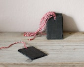 8 Slate labels on a string, Hand cut natural slate tags, Garden markers, Chalkboard labels