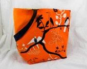 Large Tote, Gunilla Ikea Fabric, Orange and Black, Retro Bird Print, Orange Library Bag, Fall Accessory, Canvas Tote, Shopping Bag, Handmade