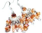 Handmade Jewelry Champagne Glass Bead Chandelier Dangle Earrings
