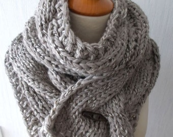 Chunky Scarf Handknit Big Cowl Extra Thick Cabled Soft  in Greyish Brown