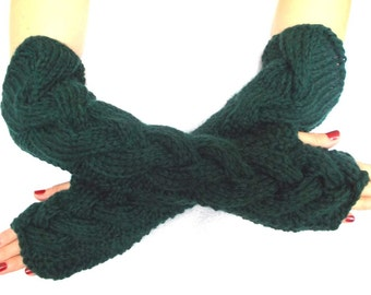 Winter Arm Warmers Fingerless Elbow Gloves Dark Green Extra Chunky Warm