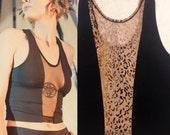 L Leopard Print Mesh and Black Cotton Crop Tank size Large.