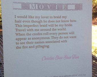 "Christine Shan Shan Hou broadside for ""Movie"""