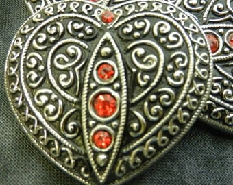 Czech Glass Button Black Red Regalia Silver Crystal Rhinestones Filigree Heart Shank Luxury Finery