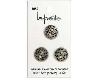 "LaPetite Buttons 5/8"" Antique Silver  Round La Petite Fashion Sewing Button 1050"