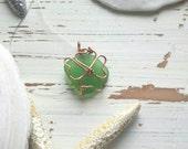 Shamrock Four Leaf Clover Angel Green Sea Glass Necklace Pendant St. Patrick's Day Irish