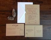 Fireflies Mason Jar Rustic Wedding Invitation Suite Kraft Paper, Southern Outdoor Wedding Invite, Mason Jar String Lights Wedding Invite