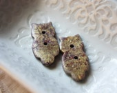 Owl Buttons / Faux Gold Golden Marble Owls / Handmade Handcrafted