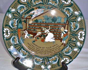 Buffalo Pottery Deldare Plate Emerald Glaze Dr Syntax Misfortune at Tulip Hall 1911 Signed American Art Pottery