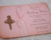 Ballerina Ribbon Invitations Baby Shower Birthday Pink Invites Vintage Style Ballet Set of 10