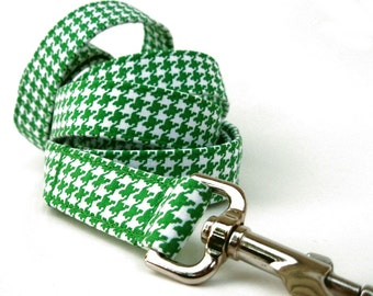 Kelly Green Houndstooth Dog Leash - 6 Foot Length