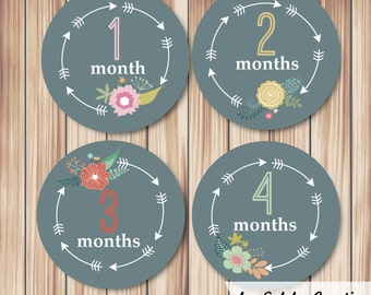 Baby Month Milestone stickers Floral & Arrow (set of 12)