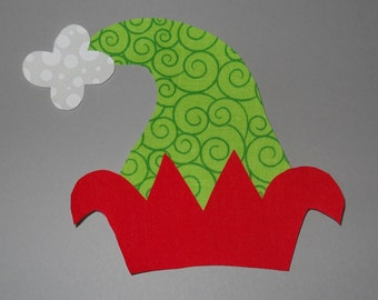 Christmas Iron On Applique, Elf Hat, Green & Red, No Sew, DIY