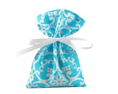 ON SALE -- Small Fabric Gift Bag or Gift Card Holder in Elegant Blue and White Fabric for Wedding, Birthday or Shower Gift
