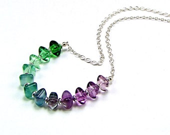 Fluorite Ombre Sterling Silver Necklace - N589B