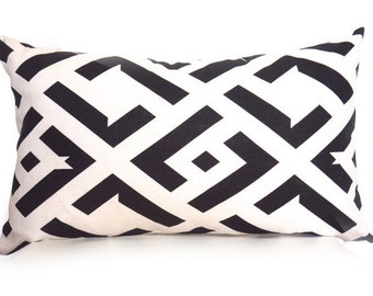 CHINA CLUB // Black and Off-White 12x20 inch Decorative Pillow Cover - DVF pillow - Geometric Pillow - Linen Pillow - Designer Pillow