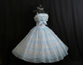 Vintage 1950's 50s Bombshell Strapless Baby Blue White Floral Lace Chiffon Organza Circle Skirt Party Prom Wedding Dress Gown