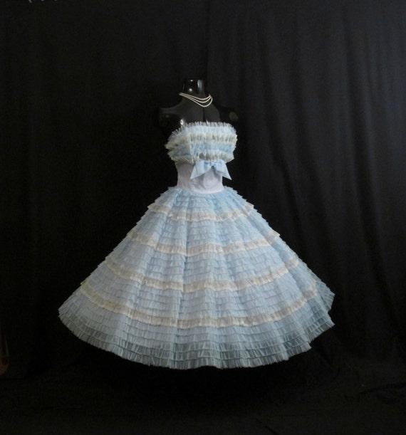 Vintage 1950's 50s Bombshell Strapless Baby Blue White