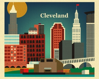 Cleveland Art Print, Cleveland Skyline,  Cleveland Map, Cleveland Skyline, Cleveland Ohio,  Cleveland Poster, Ohio decor - style - E8-O- CLE