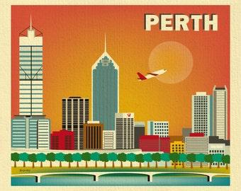 Perth Skyline Print Wall Art, Perth Poster, Perth map, Australia Art, Perth Horizontal print, Loose Petals City Print -  style - E8-O-PER