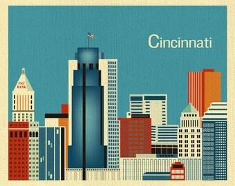 Cincinnati Skyline Print, Ohio Wall Art, Cincinnati horizontal Print, Cincinnati Gift, Cincinnati Ohio Decor, Cincinnati art - style E8-O-CI