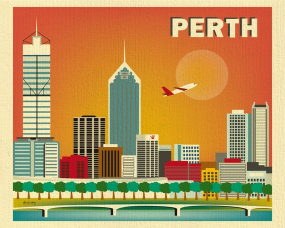 perth skyline print wall art perth poster perth map australia art