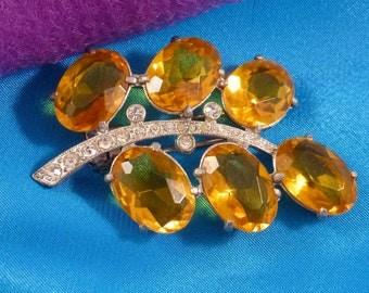 Vintage Amber Yellow Rhinestone Fur Clip