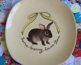 Juno Bunny and Bow Vintage Illustrated Large Plate
