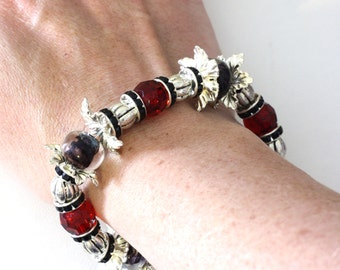 Chunky Handmade Beaded Stretch Bracelet in red, purple, silver and black - womens jewelry