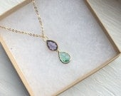 The Multi Faceted- Purple and Green Teardrop Gold Chain Necklace