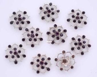 10 pcs. RD139 Purple Rhinestone Button Embellishments