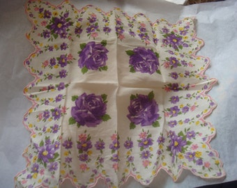 Vintage Purple Yellow Pink Roses Floral Cotton Hankie 50s Scalloped edge