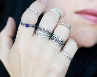 Sterling Silver Stacking Rings - Unique Stacking Rings -  Rustic Stacking Rings - Oxidized - Gifts for Her - mini rings - knuckle rings