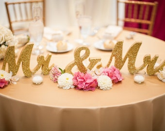 Gold Glitter Mr and Mrs Wedding Signs for Sweetheart Table Decor Wooden Letters, Large Thick Wood Mr & Mrs Sign Wedding Sign (Item - MTS100)
