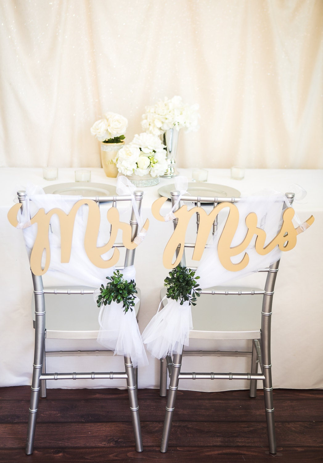 Mr And Mrs Wedding Signs Gold Chair Sign Set For By
