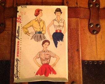 Vintage Simplicity Shirt Pattern 4256 Uncut Size 12 Bust 30