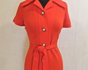 vintage mod red dress & jacket set - 1960s D'amselle red button front belted dress/cardigan set