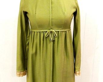 vintage olive maxidress - 1970s Lorrie Deb green lace-neck long dress