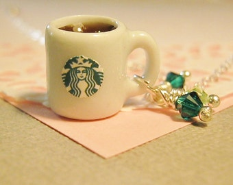 Starbuck's Inspired Coffee Mug Necklace, Coffee Cup Necklace