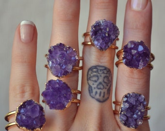 PETITE GALAXY  /// Amethyst Cluster /// Gold Electroformed Ring